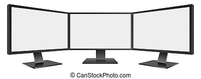 3D Illustration of Three Computer monitor isolated on white