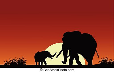 Silhouette of elephant with sun at the morning