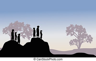 Silhouette of meerkat family in the hills