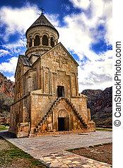 old monastery in Armenia in spring