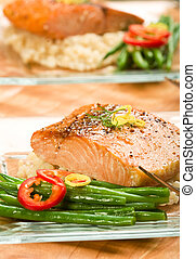 Salmon with Lemon Couscous - Roasted Salmon with pearl...