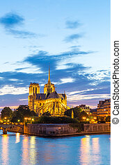 Notre Dame Cathedral Paris dusk - Notre Dame Cathedral with...