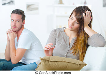 Couple not speaking to each other