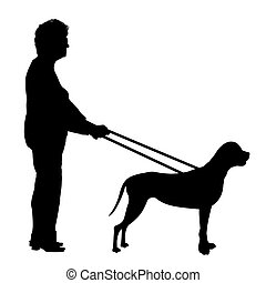 Guide dog - Illustration of a woman being guided by a dog