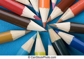 crayon close up on blue background
