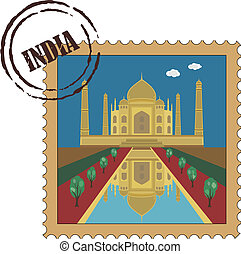 Old vintage postal stamp with Taj Mahal, famous landmark of...