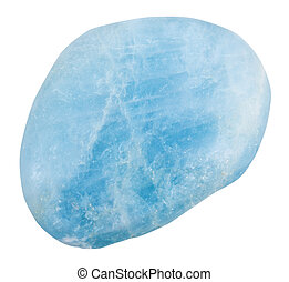 pebble of aquamarine blue Beryl gemstone - macro shooting of...