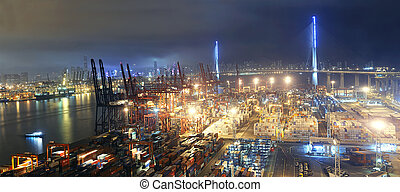 Container port in Hong Kong at night