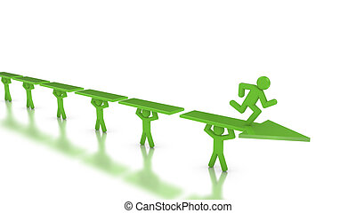 Performance race to success with teamwork