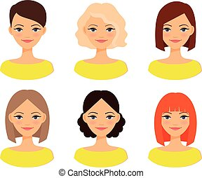 Womens faces with different hairstyles - Womens faces. Woman...
