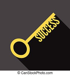 Success key, long shadow - Success key icon with long shadow...