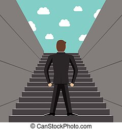 Ambitious businessman climbing steps - Ambitious successful...