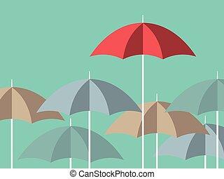 Bright red unique umbrella - Red unique umbrella standing...