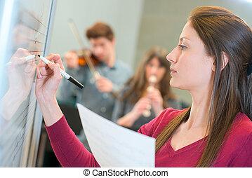 Music teacher at work