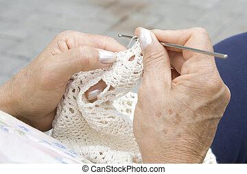 Strickzeug, Hände