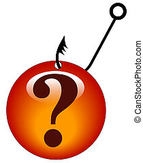 looking for answers - question mark snagged by a fishing hook