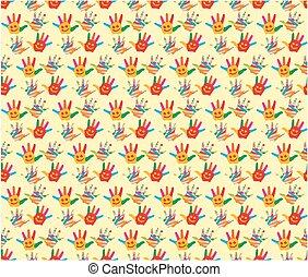 Background with children hands.