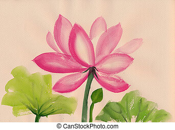 Lotus Flower watercolor painting - Lotus flower watercolor...