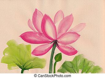 Lotus Flower watercolor painting - Lotus flower watercolor...