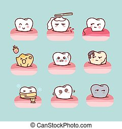 cartoon healthy and decayed tooth