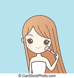 girl with make up brush - cartoon girl with make up and...