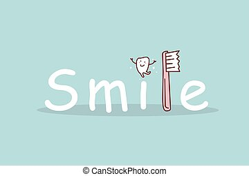 cartoon tooth smile with toothbrush
