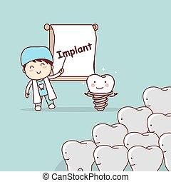dentist teach teeth implant - cartoon doctor or dentist...