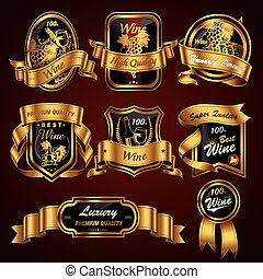 premium wine labels set - luxury premium wine labels set...