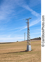 Electricity pylon in an agricultural landscape in Toledo...