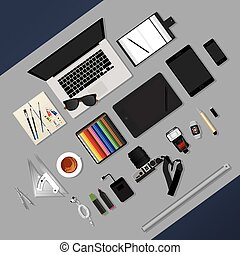 Flat Design. Graphic Designer