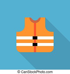 Orange safety vest icon, flat style - Vector