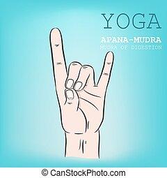 Apana-Mudra - Hand in yoga mudra Apana-Mudra Vector...