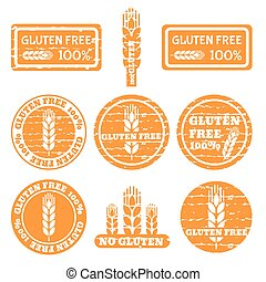 ayurveda - Set of grunge stamps with allergen icons. Gluten...
