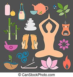 ayurveda - Set ayurveda icons. Vector illustration. Ayurveda...