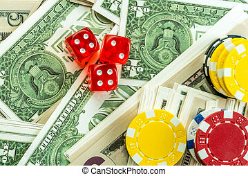 Gambling Red Dice Dollars and Chips