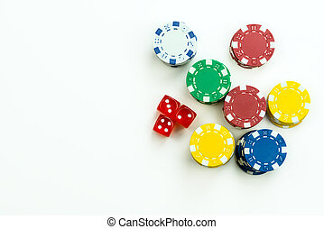 Gambling Red Dice and Money Chips