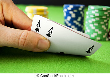Top pair of Aces and chips - Aces and chips on a gambling...