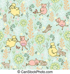 animals in the meadow pattern