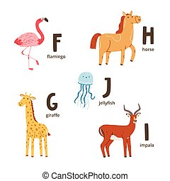 Animal alphabet letters f to j, vector illustrations set