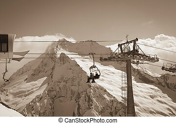 Ropeway at ski resort Caucasus Mountains, region Dombay...