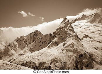Caucasus Mountains, region Dombay Peak Ine View from ski...