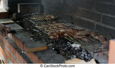 Barbecue With Delicious Grilled Meat On Grill. Barbecue...