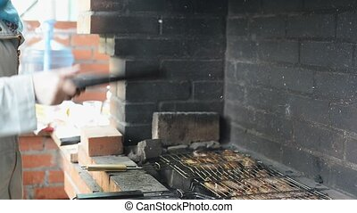 Barbecue With Delicious Grilled Meat On Grill Barbecue Party...