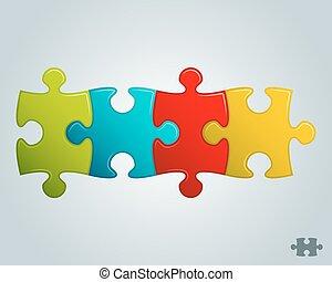 colorful puzzle pieces horizontal line