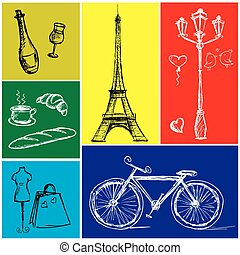 Symbols of Paris in a colored rectangle