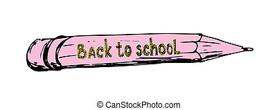 Hand drawing pencil vector illustration First day of school...