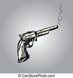 handgun or old revolver, hand drawing , vector illustration