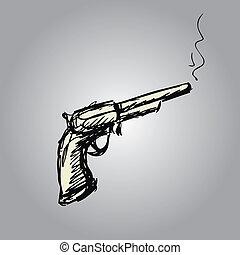 Handgun, ou, antigas, revólver, mão, desenho,