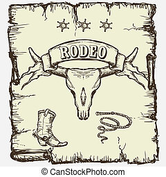 Retro style Rodeo poster with longhorn skull, ribbon banner...