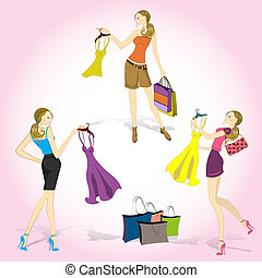 Pretty shopping girls - Set Pretty shopping girls, vector...